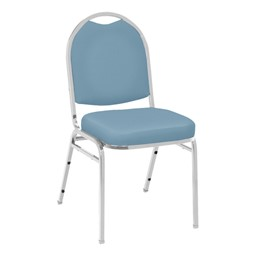 520 Banquet Stack Chair - Vinyl Upholstered Seat - Wedgewood vinyl w/ Chrome frame