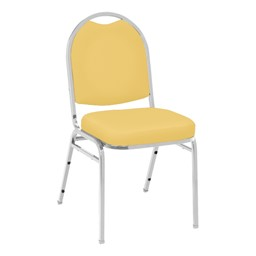 520 Banquet Stack Chair - Vinyl Upholstered Seat - Yellow vinyl w/ Chrome frame