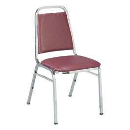 810 Banquet Stack Chair - Vinyl Upholstered Seat - Port vinyl w/ Black frame