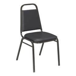 810 Banquet Stack Chair - Vinyl Upholstered Seat - Black vinyl w/ Black frame