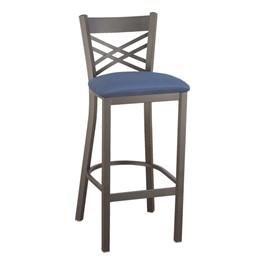 3310 Series Café Stool - Fabric Upholstery - Blue fabric w/ Black Glossy frame