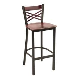3310 Series Café Stool - Wood Seat - Dark Cherry seat w/ Black Glossy frame