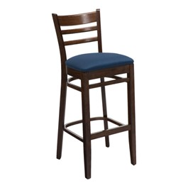4500 Series Café Stool - Fabric Upholstered Seat - Walnut frame w/ blue confetti fabric