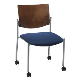 1300 Series Wood Back Mobile Chair w/o Arms - Silver frame, navy fabric & chocolate back