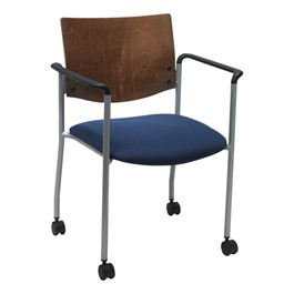 1300 Series Wood Back Mobile Chair w/ Arms - Silver frame, navy fabric & chocolate back