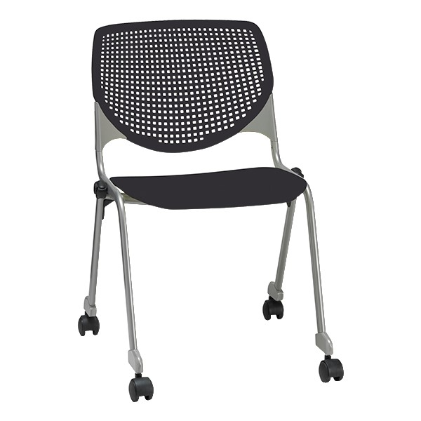 2300 Series Plastic Stack Chair w/ Casters - Black