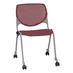 2300 Series Plastic Stack Chair w/ Casters - Burgundy