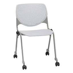 2300 Series Plastic Stack Chair w/ Casters - White