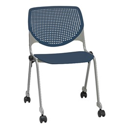 2300 Series Plastic Stack Chair w/ Casters - Navy