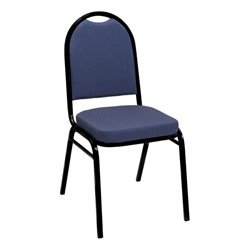 IM520 Stack Chair - Blue Pindot fabric w/ Black frame
