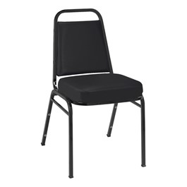 IM820 Stack Chair - Vinyl Upholstered - Black