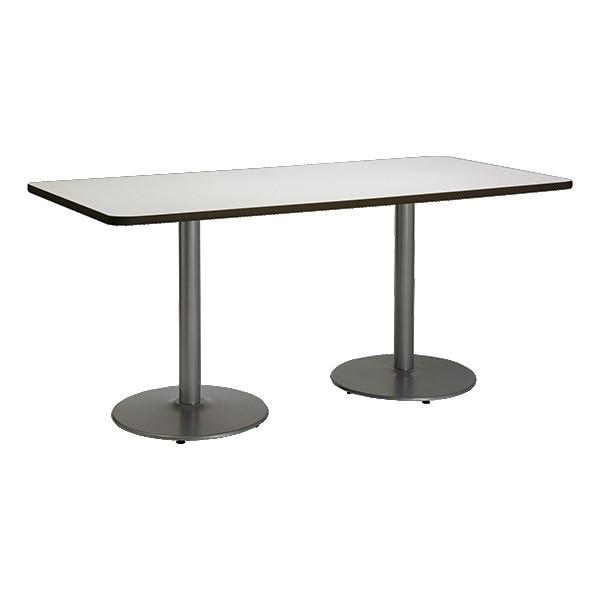 Rectangle Pedestal Table w/ Round Silver Base - Crisp Linen