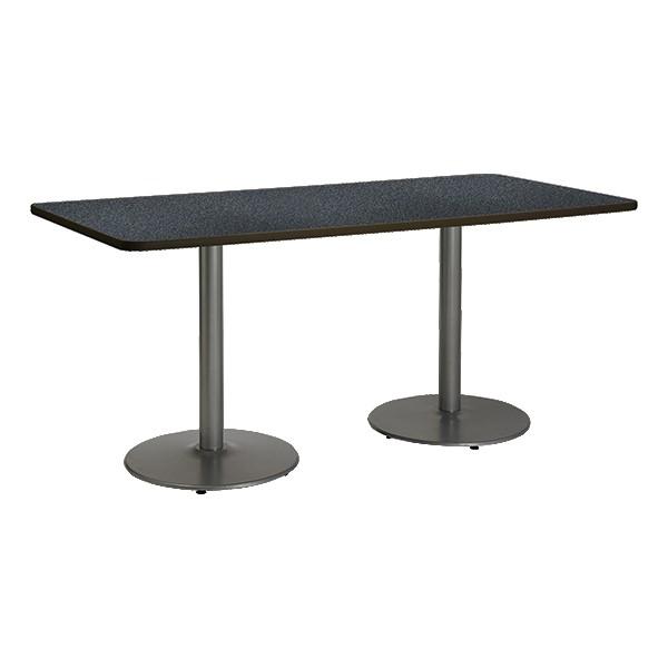 Rectangle Pedestal Table w/ Round Silver Base - Graphite Nebula