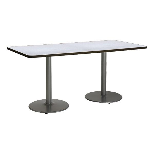 Rectangle Pedestal Table w/ Round Silver Base - Gray Nebula