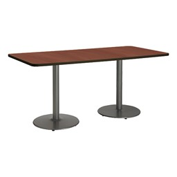 Rectangle Pedestal Table w/ Round Silver Base - Mahogany