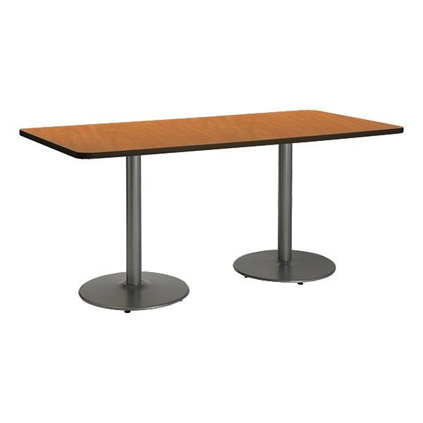 Rectangle Pedestal Table w/ Round Silver Base - Medium Oak