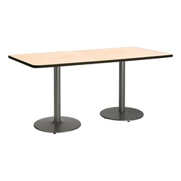 Rectangle Pedestal Table w/ Round Silver Base - Natural