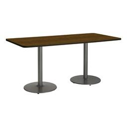 Rectangle Pedestal Table w/ Round Silver Base - Walnut