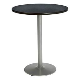 Round Pedestal Stool-Height Table w/ Silver Base - Graphite Nebula