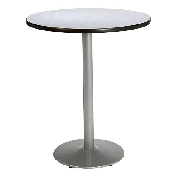 Round Pedestal Stool-Height Table w/ Silver Base - Grey Nebula