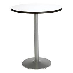 Round Pedestal Stool-Height Table w/ Silver Base - Crisp Linen