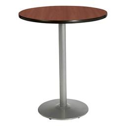 Round Pedestal Stool-Height Table w/ Silver Base - Dark Mahogany