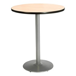 Round Pedestal Stool-Height Table w/ Silver Base - Natural