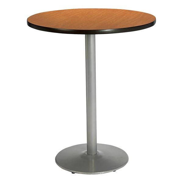 Round Pedestal Stool-Height Table w/ Silver Base - Medium Oak