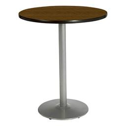 Round Pedestal Stool-Height Table w/ Silver Base - Walnut