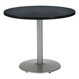 Round Pedestal Table w/ Silver Base - Graphite Nebula