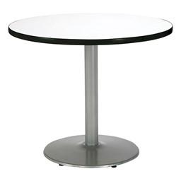 Round Pedestal Table w/ Silver Base - Crisp Linen