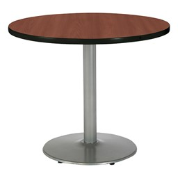 Round Pedestal Table w/ Silver Base - Dark Mahogany