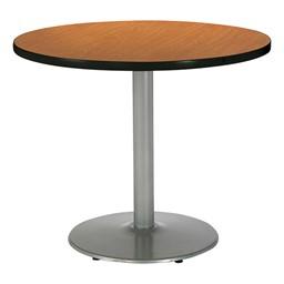 Round Pedestal Table w/ Silver Base - Medium Oak