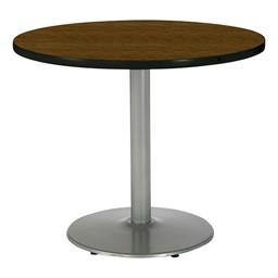 Round Pedestal Table w/ Silver Base - Walnut