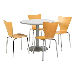 Café Table w/ Contemporary Wood Chairs - Gray nebula tabletop & natural chairs