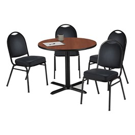 Café Table w/ Vinyl Upholstered Chairs - Dark mahogany tabletop & black vinyl chairs