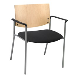 1300 Series Wood Back Big & Tall Stack Chair w/ Arms