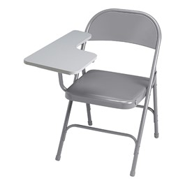 300 Series Folding Chair w/ Right Tablet Arm - Warm gray frame w/ gray tablet