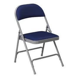 300 Series Vinyl Upholstered Folding Chair - Blue vinyl w/ Warm Gray frame