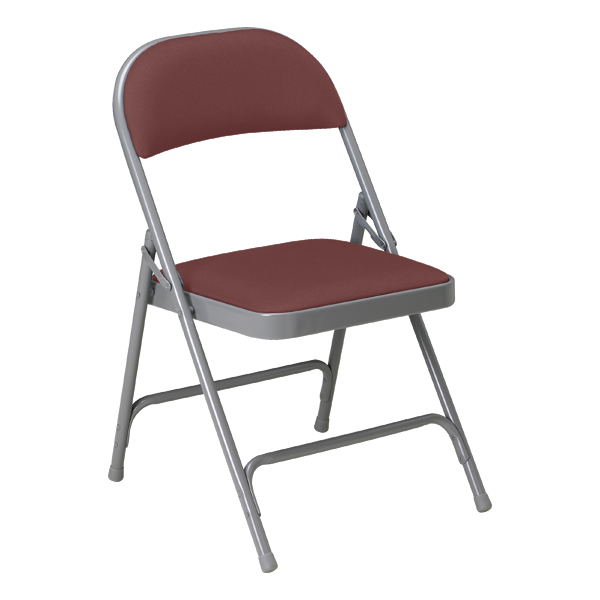 ... 300 Series Vinyl Upholstered Folding Chair   Burgundy Vinyl W/ Warm  Gray Frame ...
