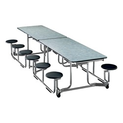 "Uniframe Mobile Cafeteria Stool Table w/ Chrome Frame & Bull-Nose Edge (60 1/2"" W x 120"" L) - 12 Stool Model Shown"