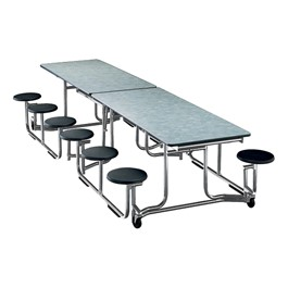 "Uniframe Mobile Cafeteria Stool Table w/ Chrome Frame & Bull-Nose Edge (60 1/2"" W x 120\"" L) - 12 Stool Model Shown"