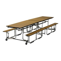 Uniframe Mobile Cafeteria Bench Table w/ Chrome Frame & Perfect Edge