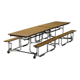 Uniframe Mobile Cafeteria Bench Table - Shown w/ chrome frame