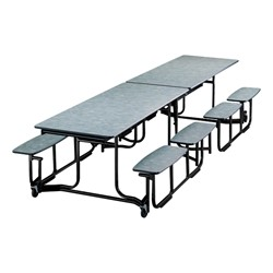 "Uniframe Mobile Cafeteria Split Bench Table w/ Black Frame & Perfect Edge (59"" W x 139 1/2"" L) - Cloud Nebula"