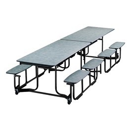 "Uniframe Mobile Cafeteria Split Bench Table w/ Black Frame & Perfect Edge (59"" W x 139 1/2\"" L) - Cloud Nebula"