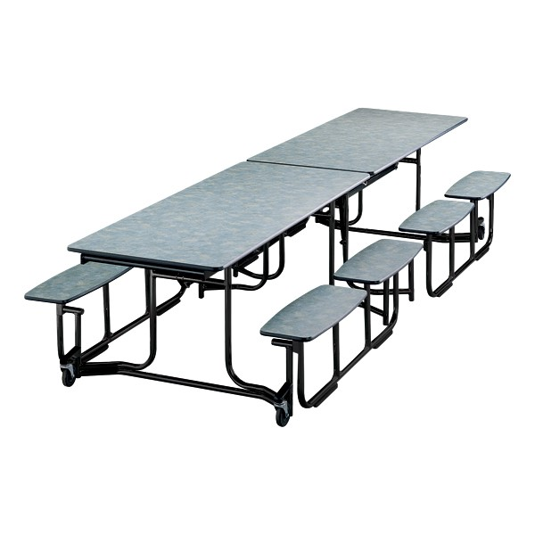 "Uniframe Mobile Cafeteria Split Bench Table w/ Black Frame & Bull-Nose Edge (59"" W x 139 1/2"" L)  - Cloud Nebula"