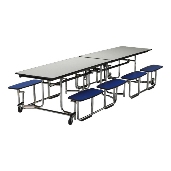 """UUniframe Mobile Cafeteria Split-Bench Table w/ Chrome Frame & Perfect Edge (59"""" W x 139 1/2"""" L)"""
