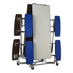 """Uniframe Mobile Cafeteria Split-Bench Table w/ Chrome Frame & Perfect Edge (59"""" W x 139 1/2"""" L)<br>Shown folded"""
