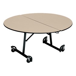 Uniframe Round Mobile Cafeteria Table - Black Frame & Perfect Edge